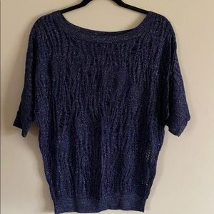 Express navy blue sparkly knit top